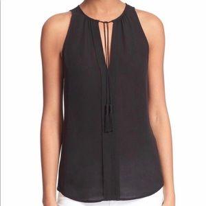 Joie Airlan Sleeveless Silk Tassel Blouse Black S